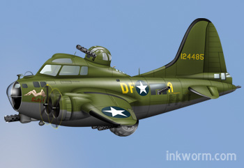 Cartoon B17 Sally B / Memphis Belle